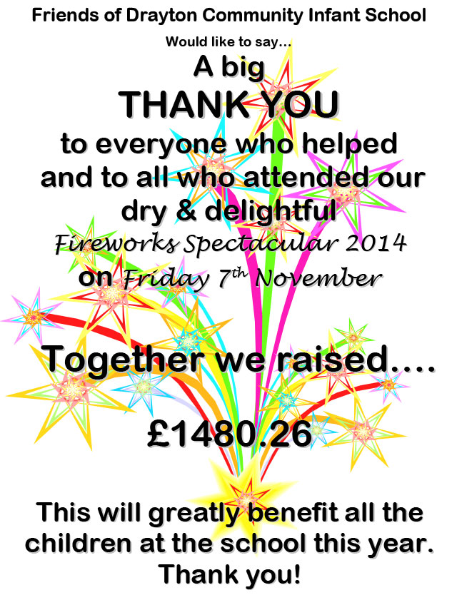 Fireworks 2014 THANK YOU & Money Raised