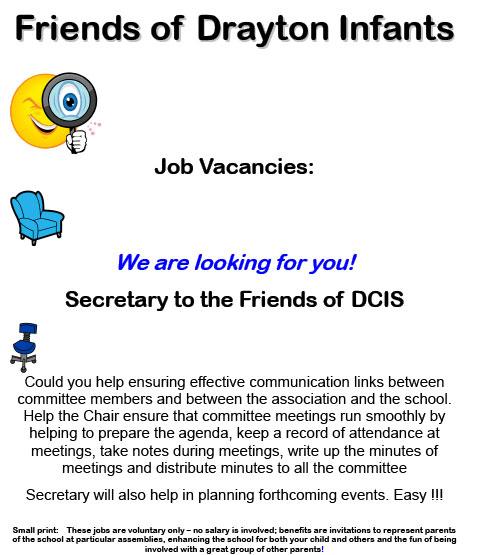 DCIS Friends Secretary Job Vacancies